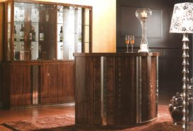 Luxusní, designový, art deco, kvalitní nábytek, interiéry Viola DESING 836 - obývací pokoj, barový stůl, barová skříň, lampa