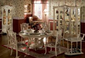 Repliky starožitného nábytku, Luxusní, stylový, historizující, zámecký, kvalitní nábytek, interiéry Viola ROYAL 108 - jídelna, stůl, židle, skleník, vitrína, servírovací stolek